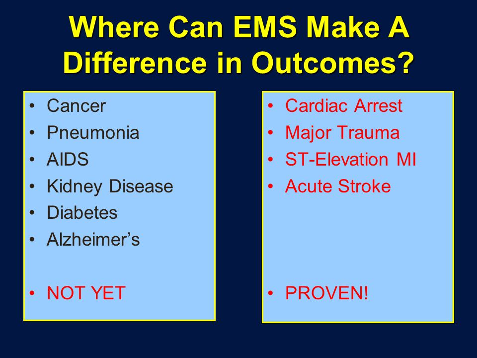 Where Can EMS Make A Difference in Outcomes.