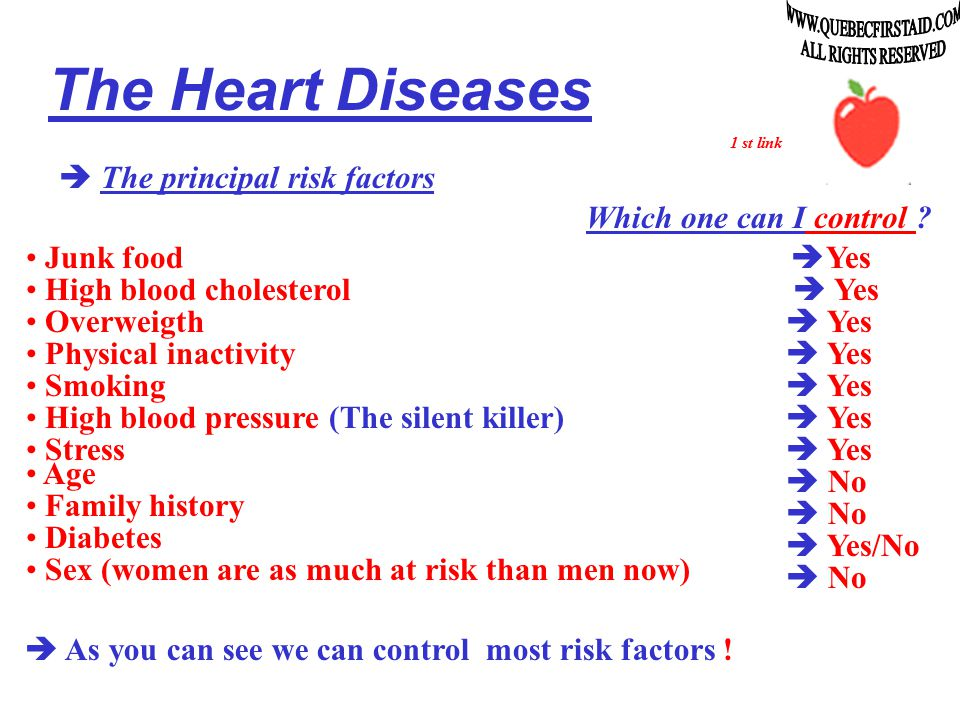 The Heart Diseases  The principal risk factors Junk food High blood cholesterol Overweigth Physical inactivity Smoking High blood pressure (The silent killer) Stress Age Family history Diabetes 1 st link Sex (women are as much at risk than men now)