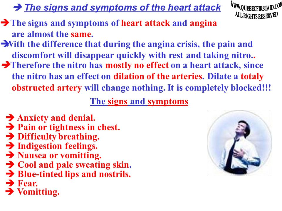 The heart attack  Upon the occurrence of heart attack, anything can happen.