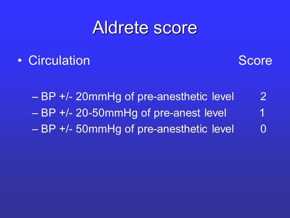 Aldrete score Circulation Score –BP +/- 20mmHg of pre-anesthetic level 2 –BP +/- 20-50mmHg of pre-anest level 1 –BP +/- 50mmHg of pre-anesthetic level