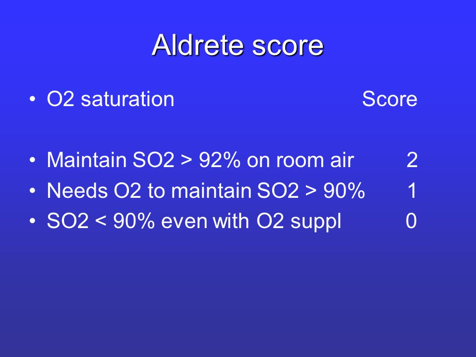 Aldrete score O2 saturationScore Maintain SO2 > 92% on room air 2 Needs O2 to maintain SO2 > 90% 1 SO2 < 90% even with O2 suppl 0
