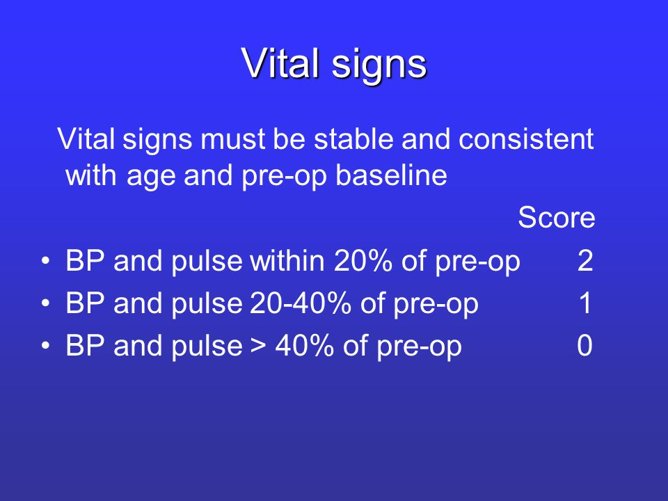 Vital signs Vital signs must be stable and consistent with age and pre-op baseline Score BP and pulse within 20% of pre-op 2 BP and pulse 20-40% of pre-op 1 BP and pulse > 40% of pre-op 0