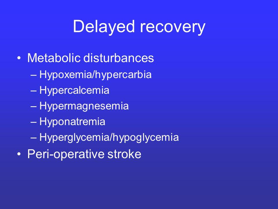 Delayed recovery Metabolic disturbances –Hypoxemia/hypercarbia –Hypercalcemia –Hypermagnesemia –Hyponatremia –Hyperglycemia/hypoglycemia Peri-operativ