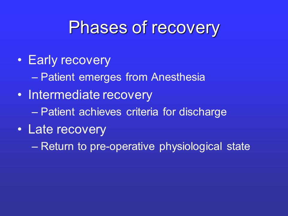 Phases of recovery Early recovery –Patient emerges from Anesthesia Intermediate recovery –Patient achieves criteria for discharge Late recovery –Return to pre-operative physiological state