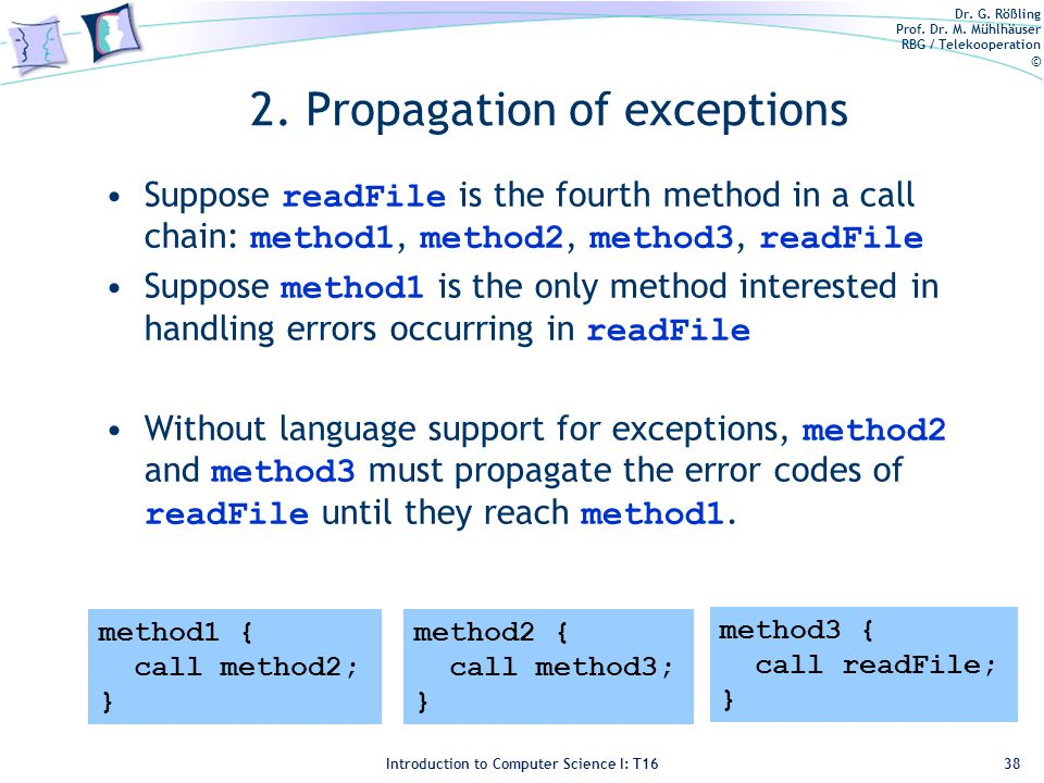 Dr. G. Rößling Prof. Dr. M. Mühlhäuser RBG / Telekooperation © Introduction to Computer Science I: T16 2. Propagation of exceptions Suppose readFile i