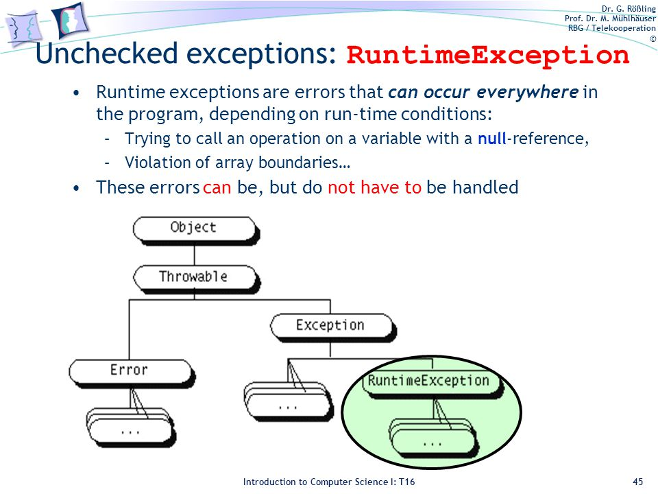 Dr. G. Rößling Prof. Dr. M. Mühlhäuser RBG / Telekooperation © Introduction to Computer Science I: T16 Unchecked exceptions: RuntimeException Runtime