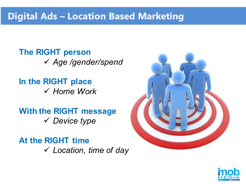Digital Ads – Location Based Marketing The RIGHT person Age /gender/spend In the RIGHT place Home Work With the RIGHT message Device type At the RIGHT time Location, time of day