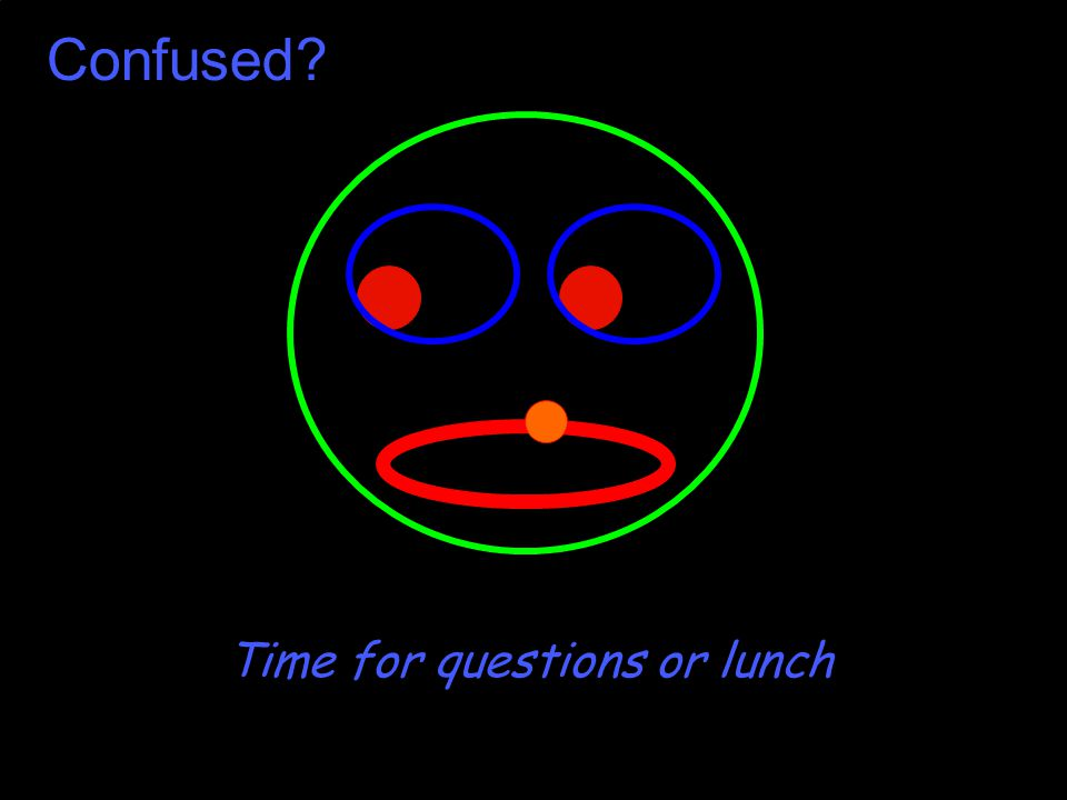 Confused? Time for questions or lunch