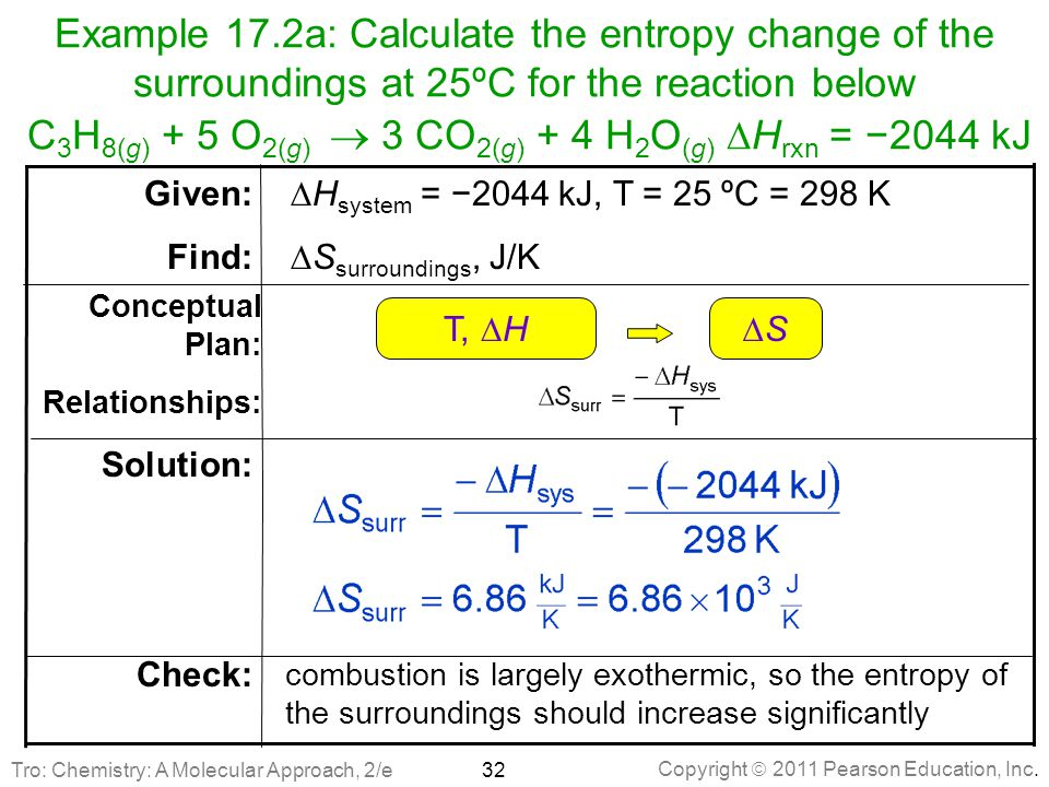 Copyright  2011 Pearson Education, Inc. Example 17.2a: Calculate the entropy change of the surroundings at 25ºC for the reaction below C 3 H 8(g) + 5