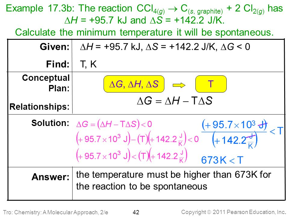 Copyright  2011 Pearson Education, Inc. Example 17.3b: The reaction CCl 4(g)  C (s, graphite) + 2 Cl 2(g) has  H = +95.7 kJ and  S = +142.2 J/K. C