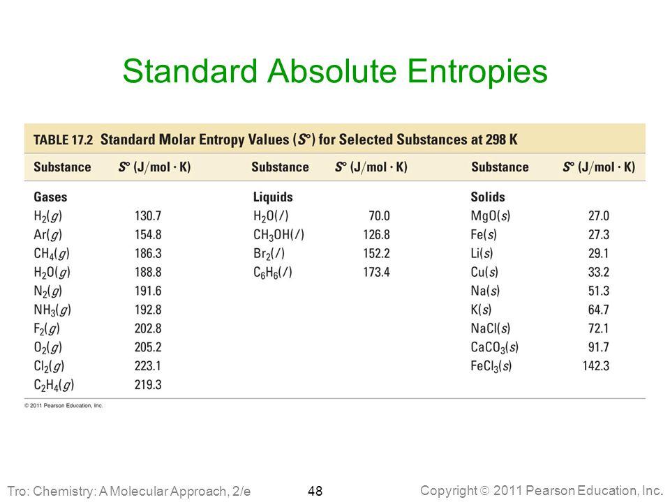 Copyright  2011 Pearson Education, Inc. Standard Absolute Entropies 48Tro: Chemistry: A Molecular Approach, 2/e
