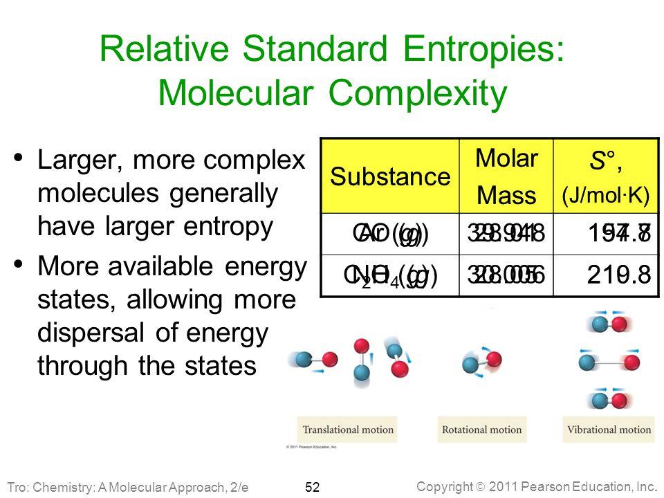 Copyright  2011 Pearson Education, Inc. Relative Standard Entropies: Molecular Complexity Larger, more complex molecules generally have larger entrop