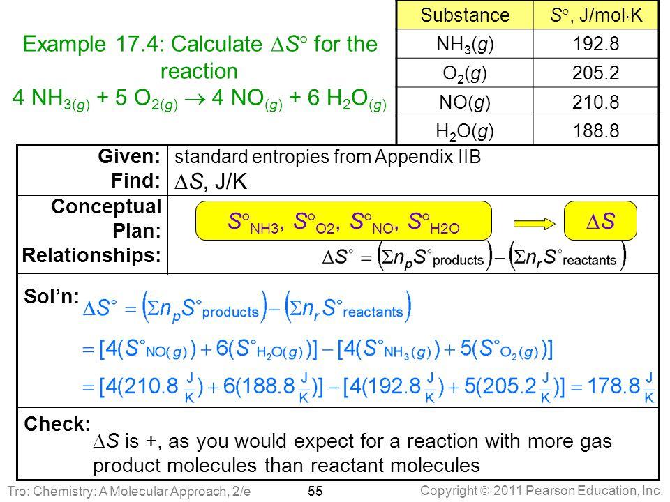 Copyright  2011 Pearson Education, Inc. Example 17.4: Calculate  S  for the reaction 4 NH 3(g) + 5 O 2(g)  4 NO (g) + 6 H 2 O (g) 55  S is +, as