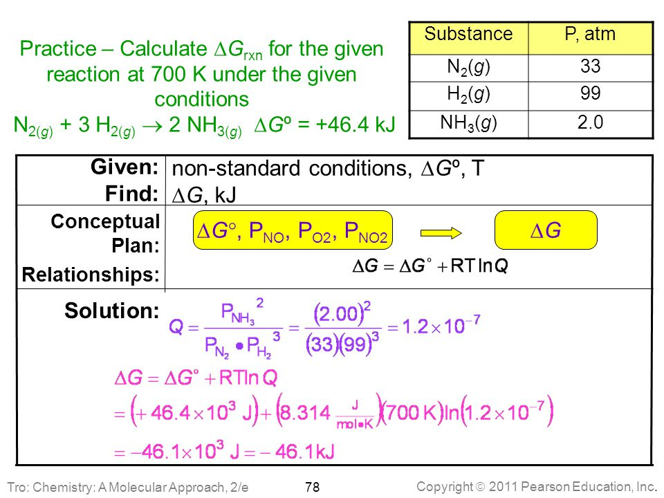 Copyright  2011 Pearson Education, Inc. Practice – Calculate  G rxn for the given reaction at 700 K under the given conditions N 2(g) + 3 H 2(g)  2