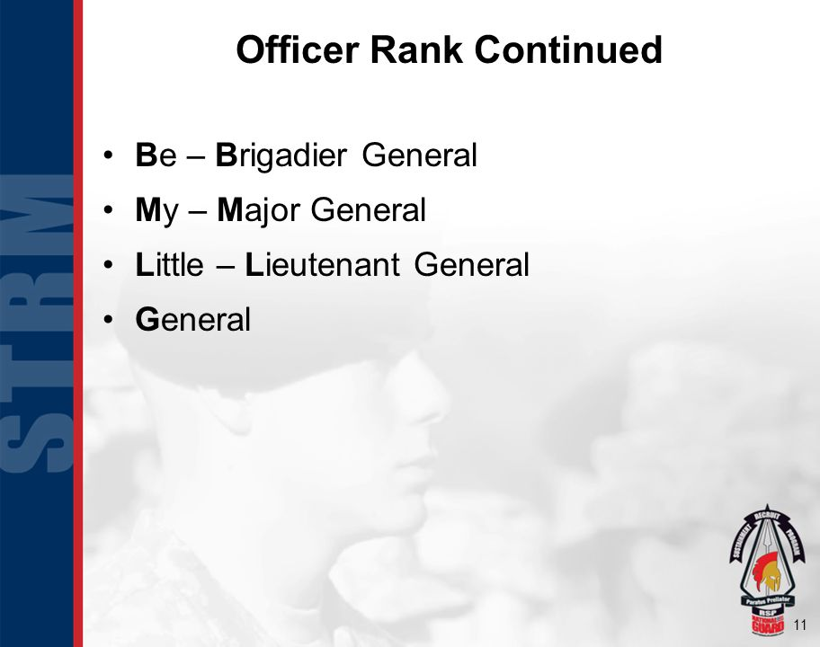 11 Officer Rank Continued Be – Brigadier General My – Major General Little – Lieutenant General General