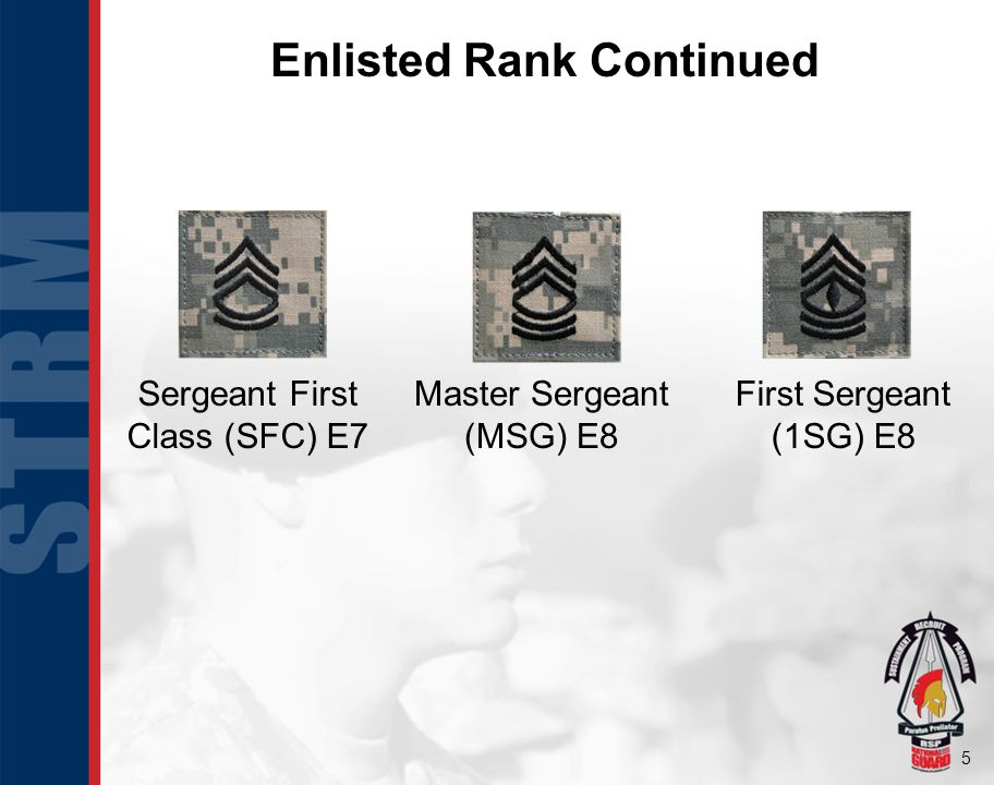 6 Enlisted Rank Continued Sergeant Major (SGM) E9 Command Sergeant Major (CSM) E9 Sergeant Major of the Army (SMA) E9