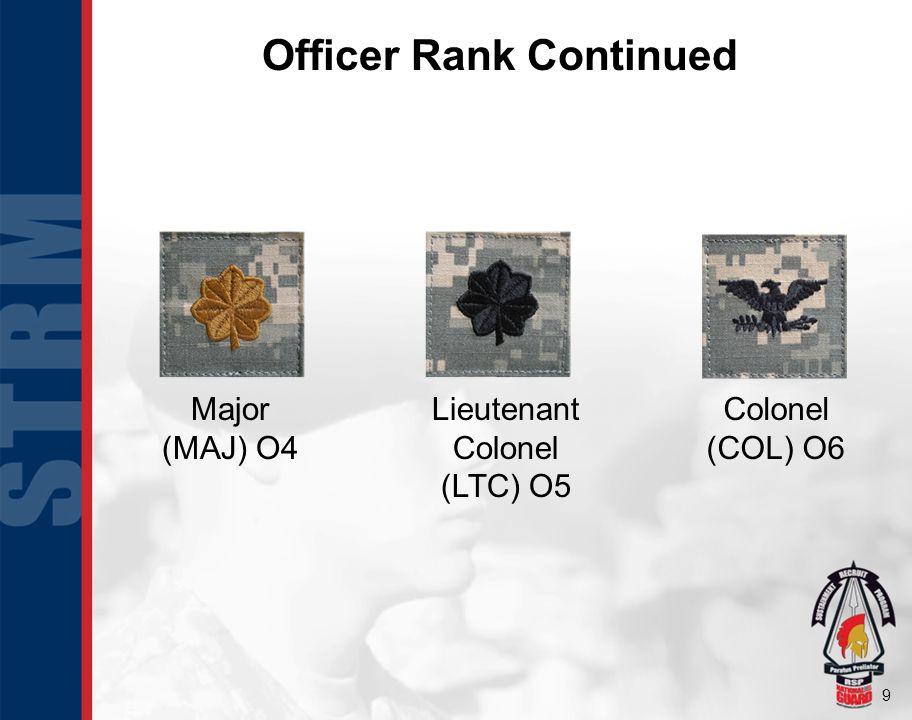 10 Officer Rank Continued Brigadier General (BG) O7 Major General (MG) O8 Lieutenant General (LTG) O9 General (GEN) O10