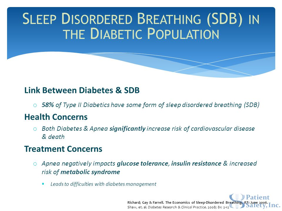 Link Between Diabetes & SDB o 58% of Type II Diabetics have some form of sleep disordered breathing (SDB) Health Concerns o Both Diabetes & Apnea significantly increase risk of cardiovascular disease & death Treatment Concerns o Apnea negatively impacts glucose tolerance, insulin resistance & increased risk of metabolic syndrome  Leads to difficulties with diabetes management Richard; Gay & Farrell.