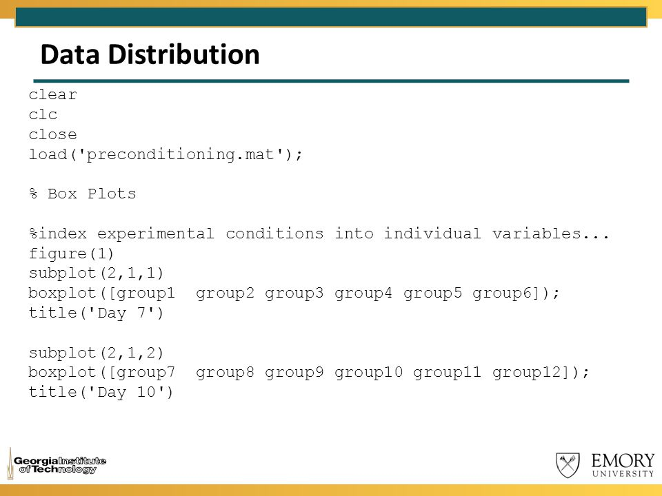 Data Distribution clear clc close load('preconditioning.mat'); % Box Plots %index experimental conditions into individual variables... figure(1) subpl