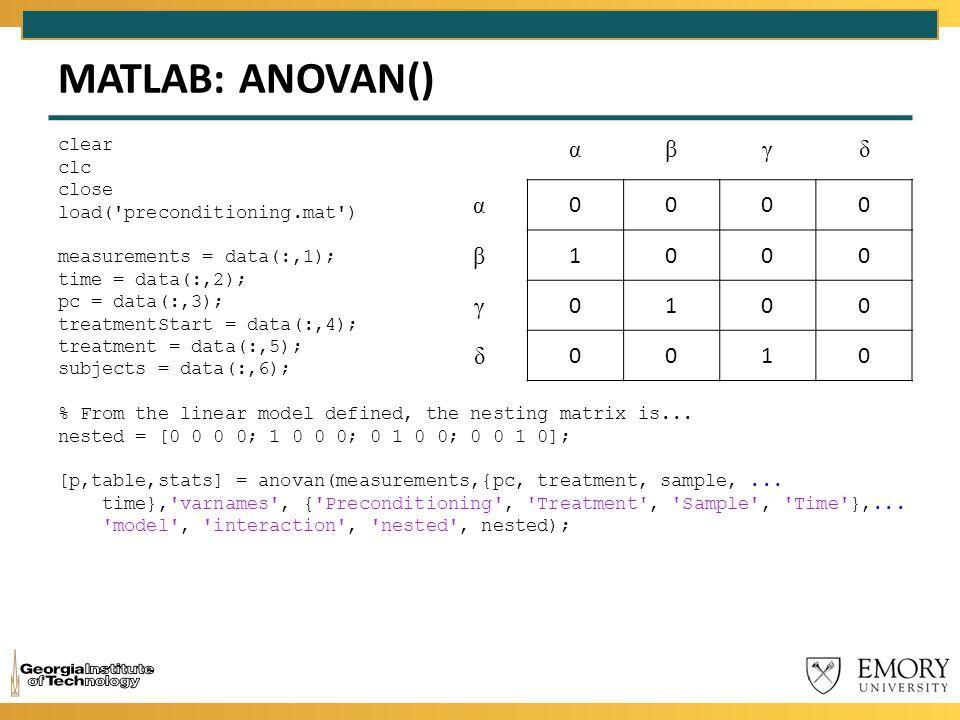 MATLAB: ANOVAN() clear clc close load('preconditioning.mat') measurements = data(:,1); time = data(:,2); pc = data(:,3); treatmentStart = data(:,4); t