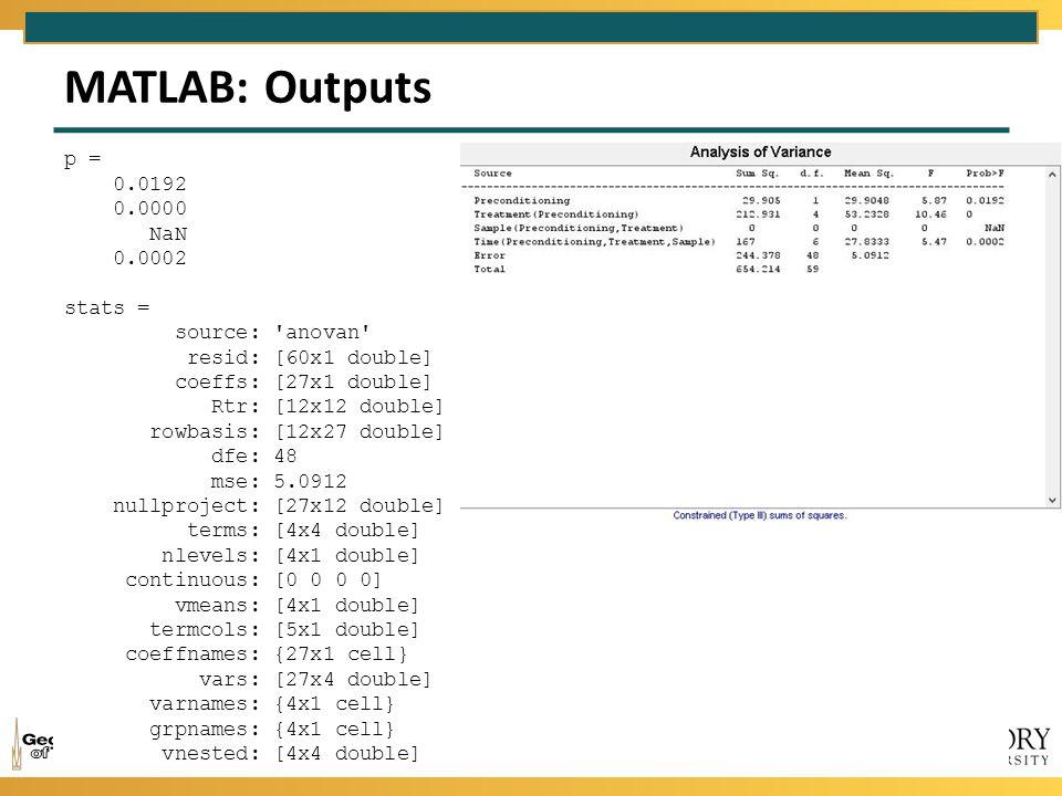 MATLAB: Outputs p = 0.0192 0.0000 NaN 0.0002 stats = source: 'anovan' resid: [60x1 double] coeffs: [27x1 double] Rtr: [12x12 double] rowbasis: [12x27