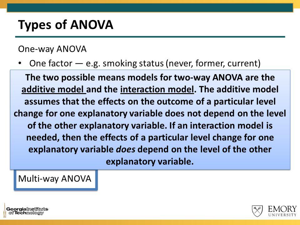 Types of ANOVA One-way ANOVA One factor — e.g. smoking status (never, former, current) Two-way ANOVA Two factors — e.g. gender and smoking status Thre