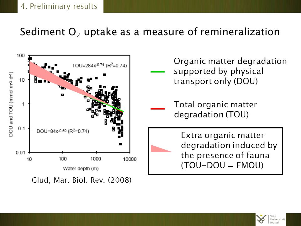4. Preliminary results Total organic matter degradation (TOU) Organic matter degradation supported by physical transport only (DOU) Extra organic matt