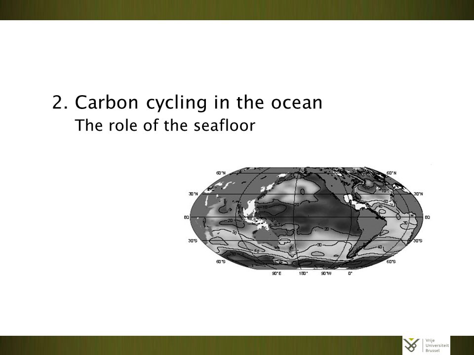 Slide 02/15 2. Carbon cycling in the ocean The role of the seafloor