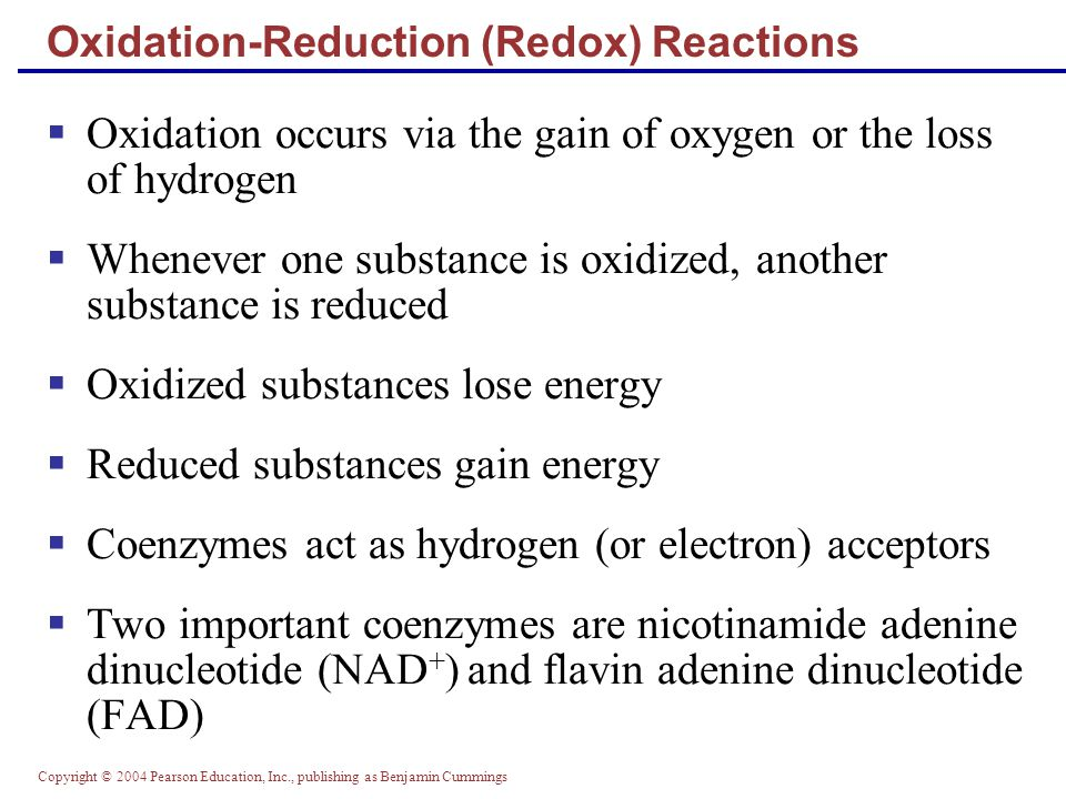 Copyright © 2004 Pearson Education, Inc., publishing as Benjamin Cummings Oxidation-Reduction (Redox) Reactions  Oxidation occurs via the gain of oxygen or the loss of hydrogen  Whenever one substance is oxidized, another substance is reduced  Oxidized substances lose energy  Reduced substances gain energy  Coenzymes act as hydrogen (or electron) acceptors  Two important coenzymes are nicotinamide adenine dinucleotide (NAD + ) and flavin adenine dinucleotide (FAD)