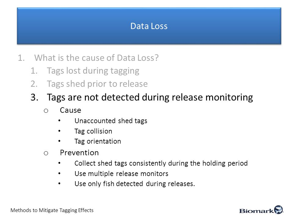 Data Loss Methods to Mitigate Tagging Effects 1.What is the cause of Data Loss.