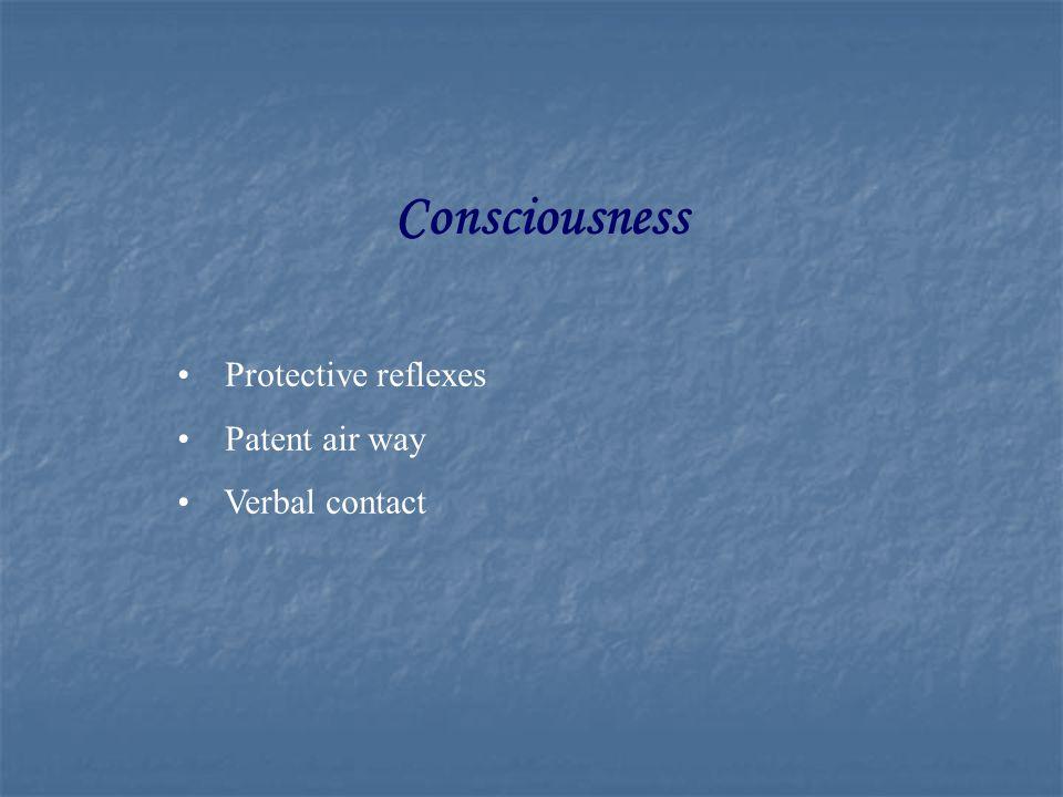Consciousness Protective reflexes Patent air way Verbal contact