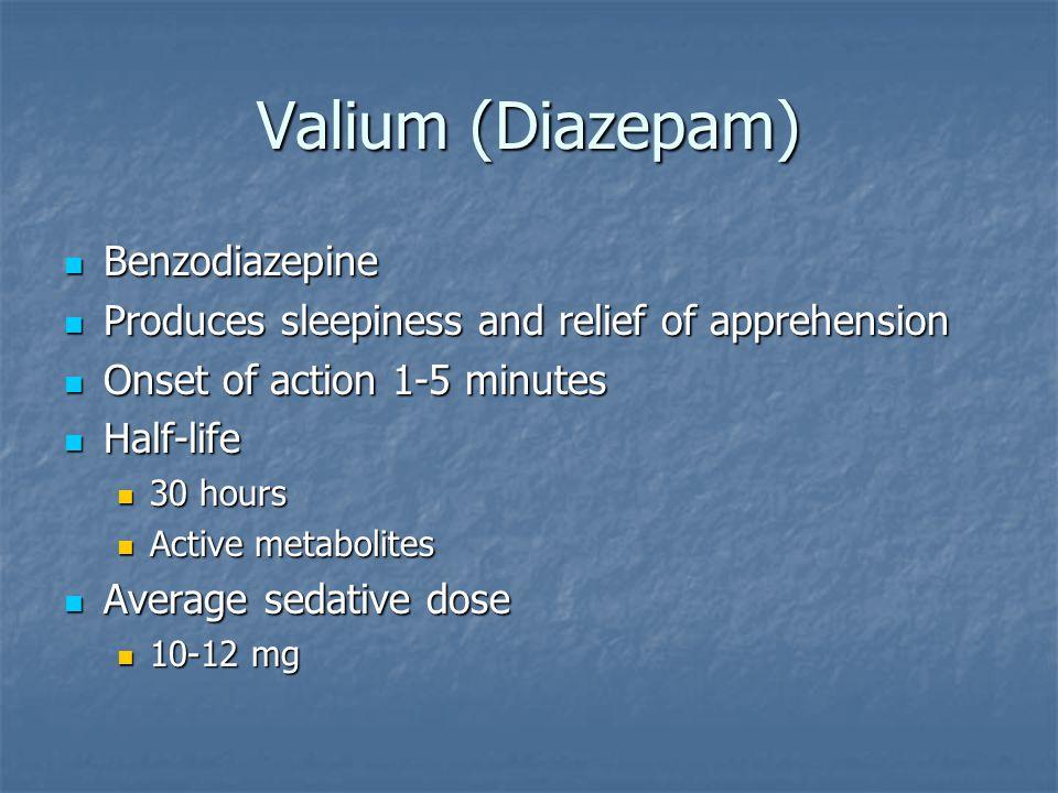 Valium (Diazepam) Benzodiazepine Benzodiazepine Produces sleepiness and relief of apprehension Produces sleepiness and relief of apprehension Onset of