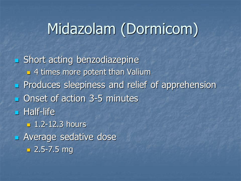 Midazolam (Dormicom) Midazolam (Dormicom) Short acting benzodiazepine Short acting benzodiazepine 4 times more potent than Valium 4 times more potent