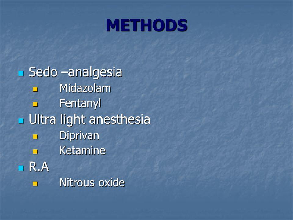 METHODS Sedo –analgesia Sedo –analgesia Midazolam Midazolam Fentanyl Fentanyl Ultra light anesthesia Ultra light anesthesia Diprivan Diprivan Ketamine