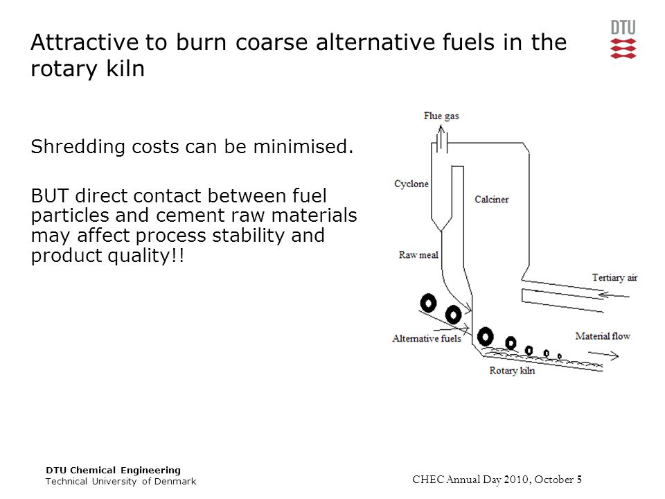 DTU Chemical Engineering Technical University of Denmark CHEC Annual Day 2010, October 5 Overall success criteria Develop a scientific based framework for processes occurring during solid fuel conversion in the material inlet of a cement rotary kiln.
