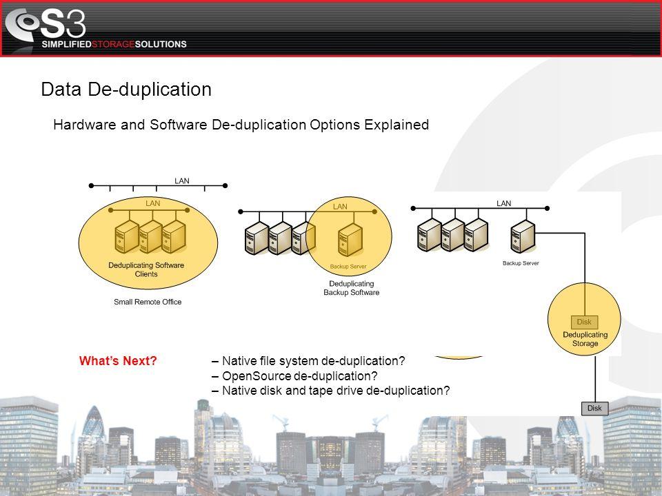 Mainstream Data De-duplication Methods Single Instance Data De-duplication Inline Data De-duplication Post Process Data De-duplication Source Client Data De-duplication Archive Storage Data De-duplication Data De-duplication Methodology