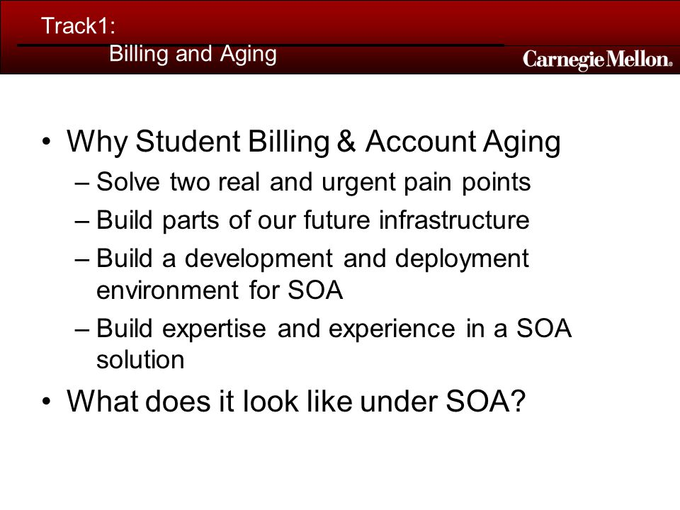 Track1: Billing and Aging Why Student Billing & Account Aging –Solve two real and urgent pain points –Build parts of our future infrastructure –Build a development and deployment environment for SOA –Build expertise and experience in a SOA solution What does it look like under SOA