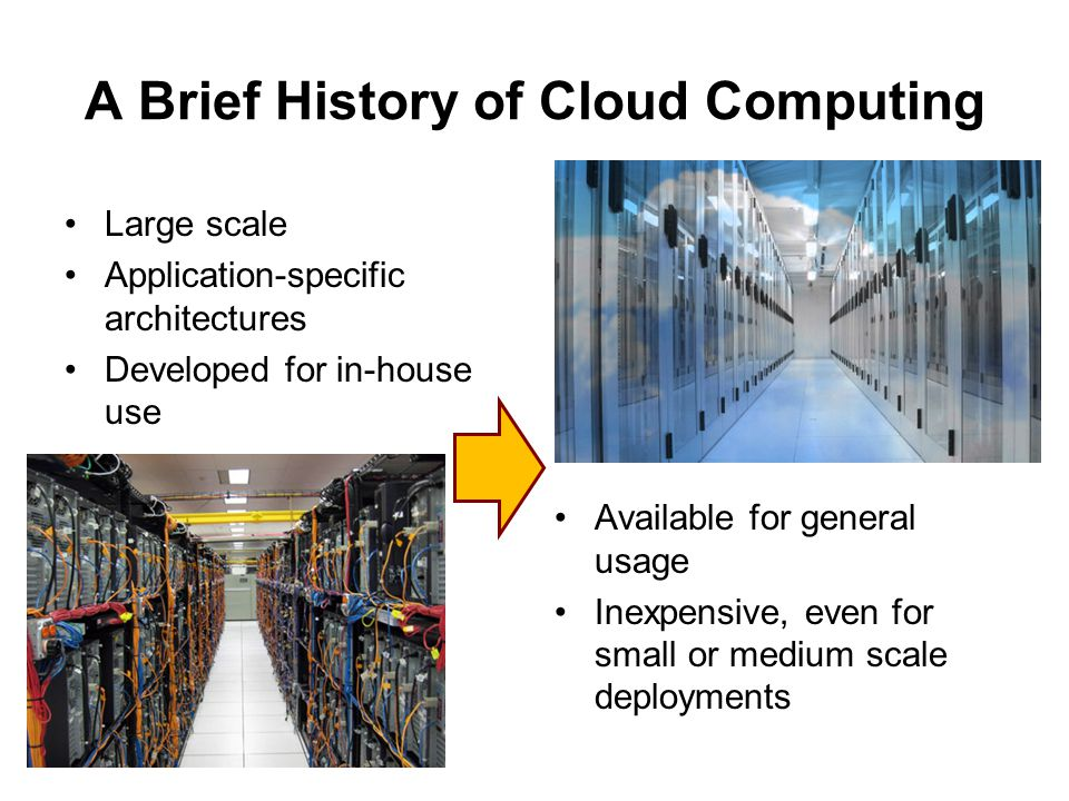 A Brief History of Cloud Computing Large scale Application-specific architectures Developed for in-house use Available for general usage Inexpensive, even for small or medium scale deployments