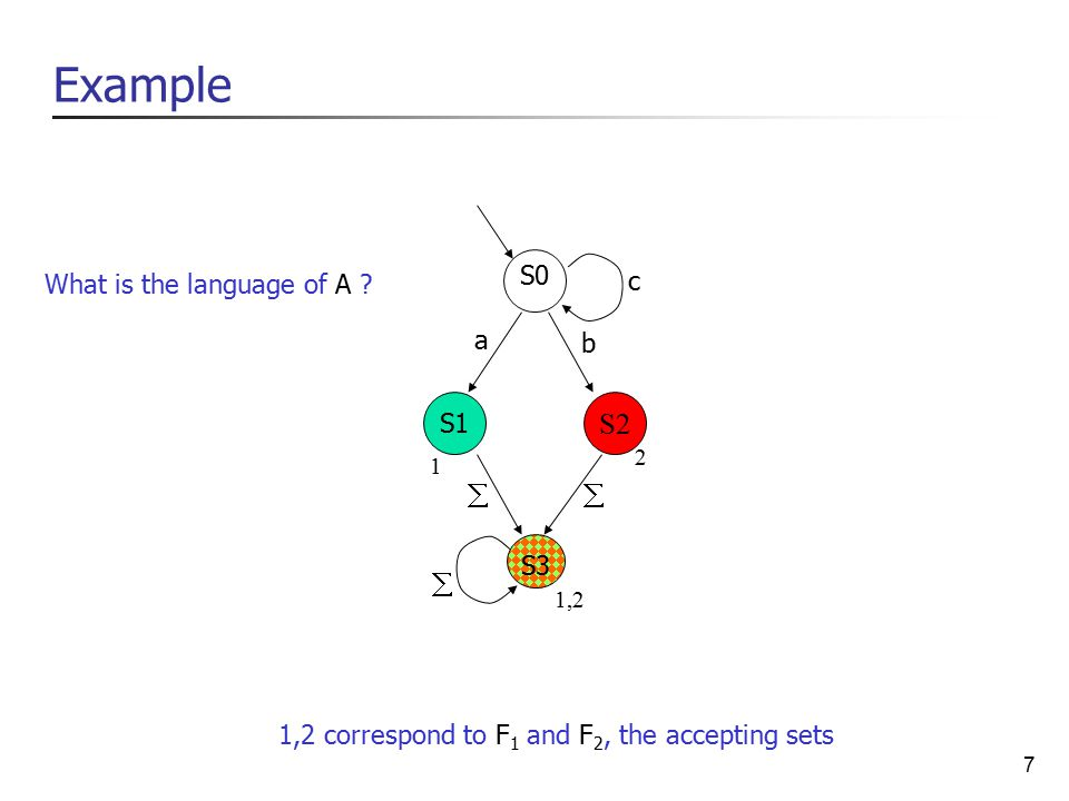 7 Example S2 1 1,2 2 1,2 correspond to F 1 and F 2, the accepting sets S0 S1 S3 a b c    What is the language of A ?