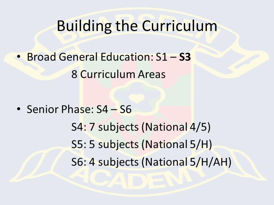 S6 - 4 courses (National 5 / Higher / Adv Higher) S5 - 5 subjects (National 5 /Higher) S4 - 7 subjects & PE, PSE, RE (National 4/5) S3 – 9 courses covering all 8 curricular areas & PE, PSE, RE S2 - 19 courses S1 - 16 courses Senior Phase BGE Choice point
