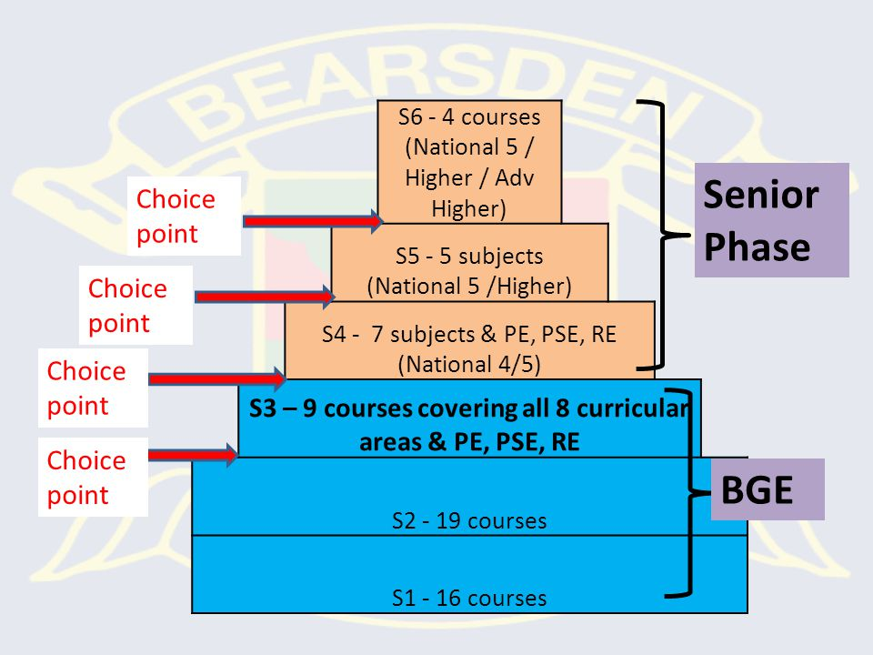 Broad General Education, S1 – S3 Curriculum is organised into 8 Curriculum Areas: Mathematics Languages (English & French) RME Health & Wellbeing (PE & PSE) Science Social Studies Expressive Arts Technologies