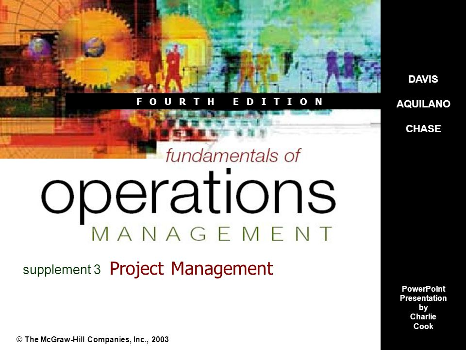 Fundamentals of Operations Management 4e© The McGraw-Hill Companies, Inc., 2003S3–2 Supplement Objectives Recognize that project management involves both people skills to coordinate and motivate individuals from a range of disciplines and technical skills to properly plan and schedule a project.