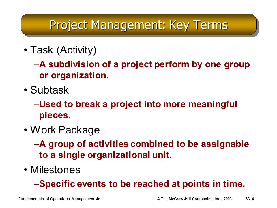 Fundamentals of Operations Management 4e© The McGraw-Hill Companies, Inc., 2003S3–5 Work Breakdown Structure –Method by which a project is divided into tasks and subtasks.
