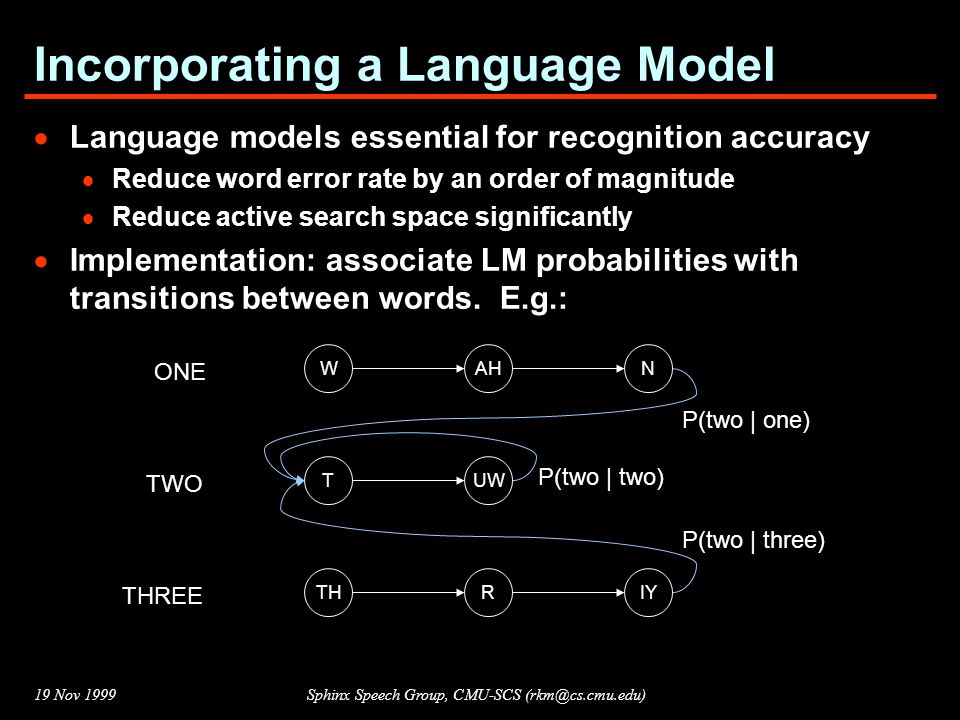 19 Nov 1999Sphinx Speech Group, CMU-SCS (rkm@cs.cmu.edu) Incorporating a Language Model  Language models essential for recognition accuracy  Reduce