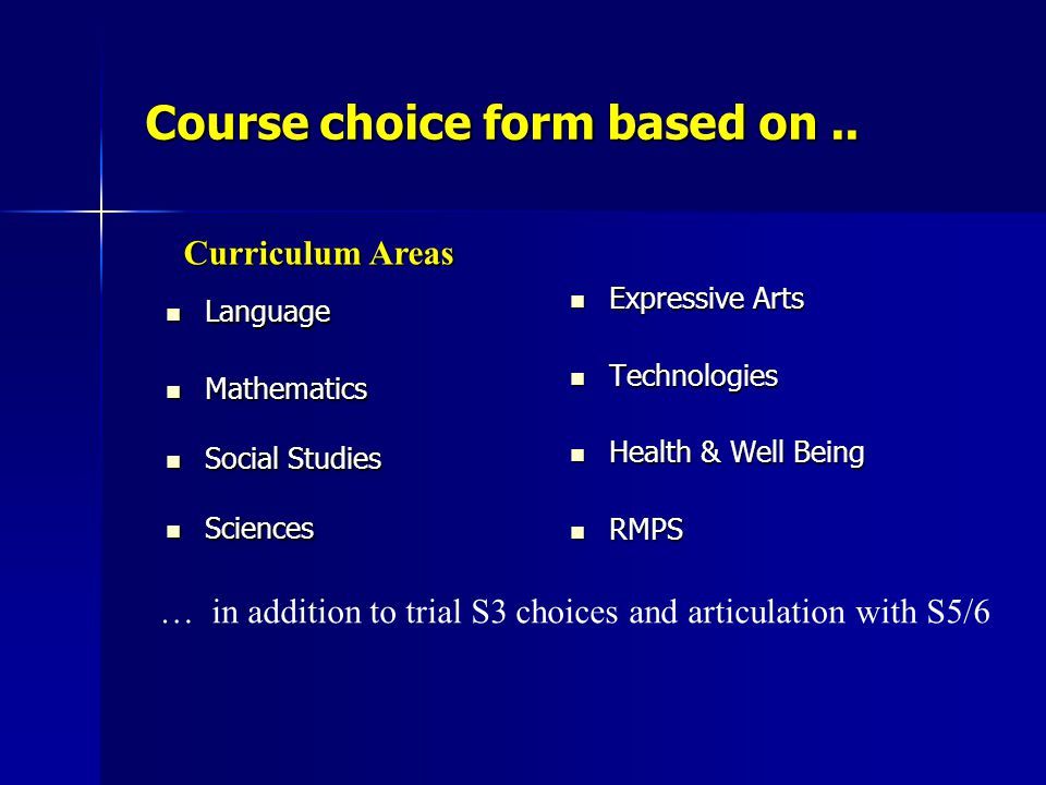 Course choice form based on.. Language Language Mathematics Mathematics Social Studies Social Studies Sciences Sciences Expressive Arts Expressive Art