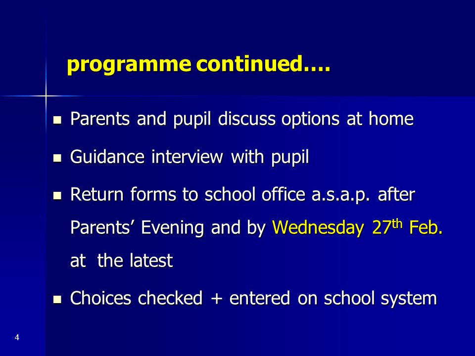 programme continued…. Parents and pupil discuss options at home Parents and pupil discuss options at home Guidance interview with pupil Guidance inter