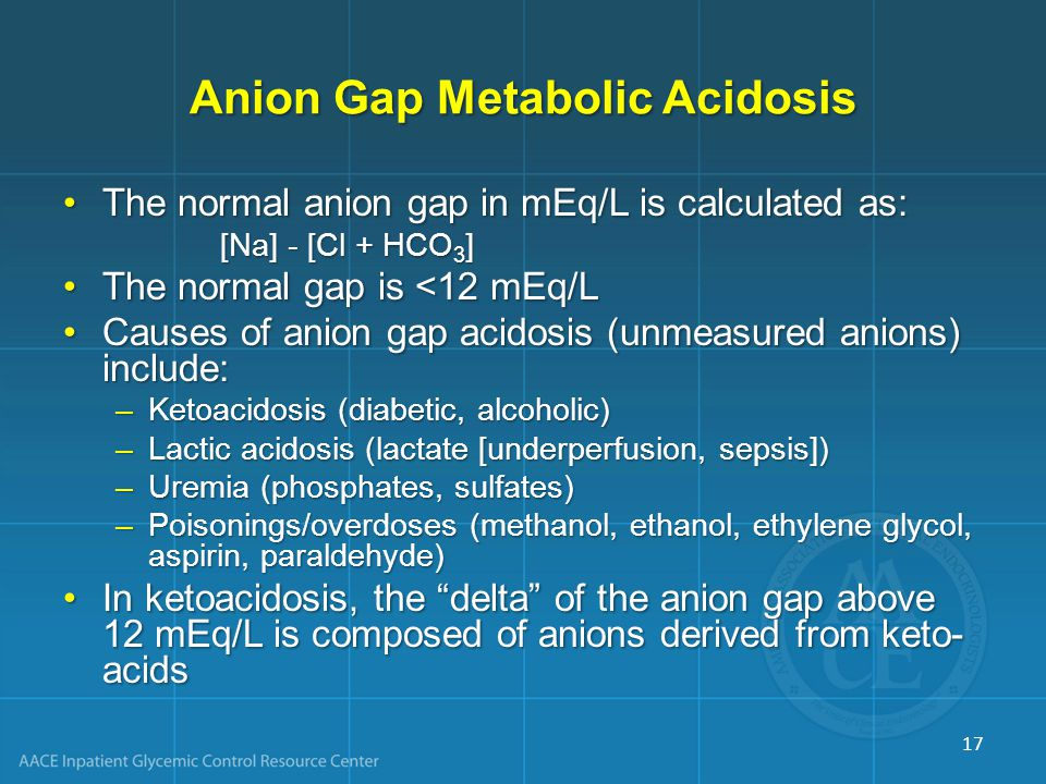 Anion Gap Metabolic Acidosis The normal anion gap in mEq/L is calculated as:The normal anion gap in mEq/L is calculated as: [Na] - [Cl + HCO 3 ] The normal gap is <12 mEq/LThe normal gap is <12 mEq/L Causes of anion gap acidosis (unmeasured anions) include:Causes of anion gap acidosis (unmeasured anions) include: –Ketoacidosis (diabetic, alcoholic) –Lactic acidosis (lactate [underperfusion, sepsis]) –Uremia (phosphates, sulfates) –Poisonings/overdoses (methanol, ethanol, ethylene glycol, aspirin, paraldehyde) In ketoacidosis, the delta of the anion gap above 12 mEq/L is composed of anions derived from keto- acidsIn ketoacidosis, the delta of the anion gap above 12 mEq/L is composed of anions derived from keto- acids 17