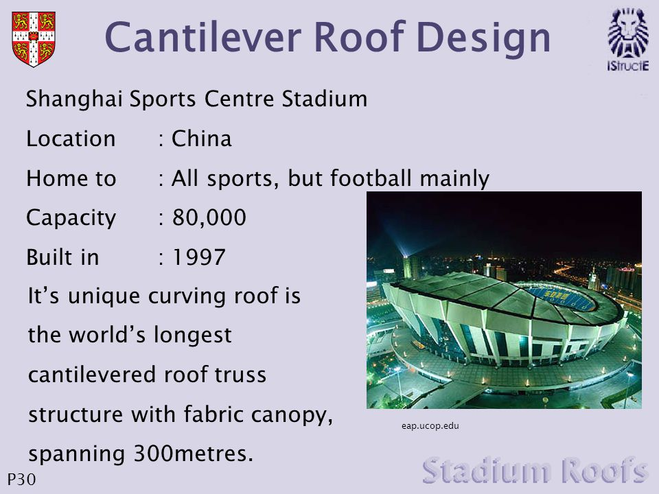 Cantilever Roof Design eap.ucop.edu Shanghai Sports Centre Stadium Location : China Home to : All sports, but football mainly Capacity: 80,000 Built i
