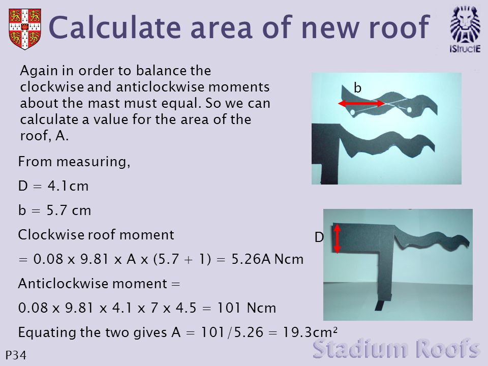 Calculate area of new roof b Again in order to balance the clockwise and anticlockwise moments about the mast must equal. So we can calculate a value