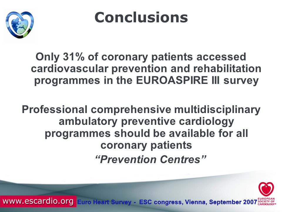 Euro Heart Survey - ESC congress, Vienna, September 2007 Conclusions Only 31% of coronary patients accessed cardiovascular prevention and rehabilitati